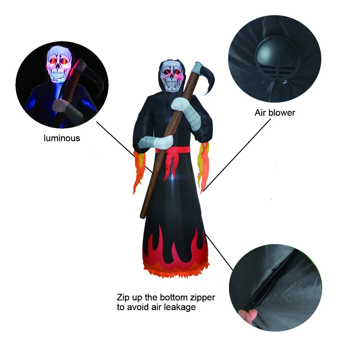 GOOSH 8 Foot Tall Halloween Inflatables Grim Reaper Inflatable Blow Up Outdoor Halloween Decorations