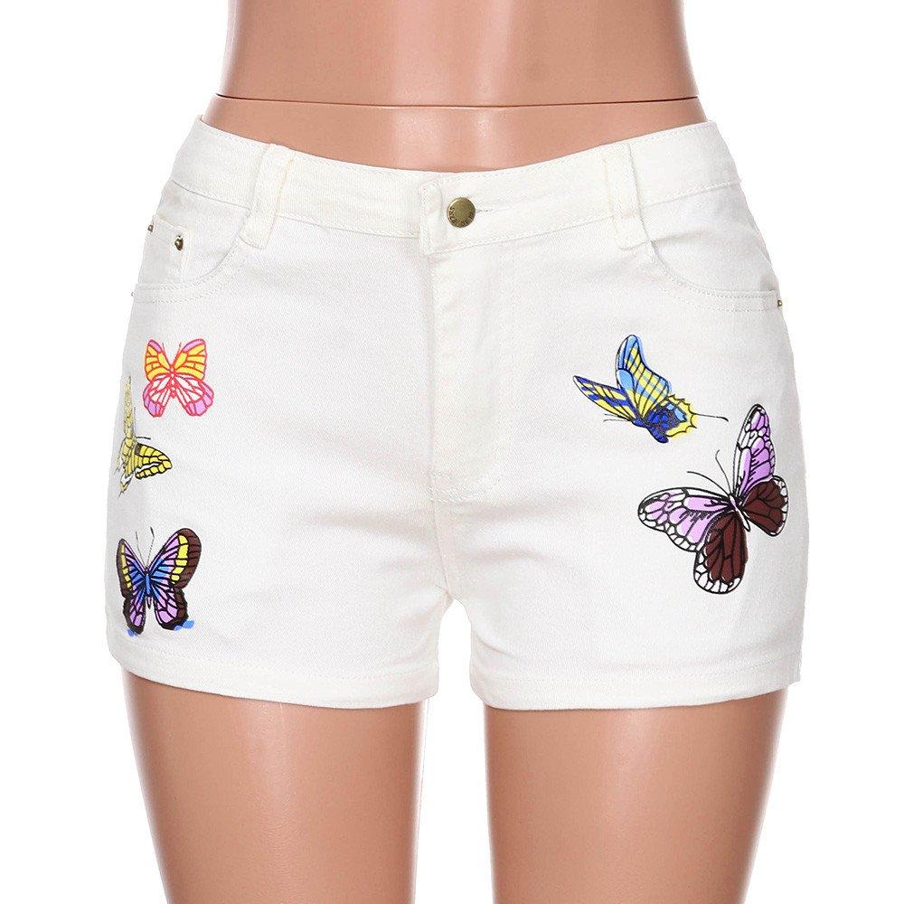 Farjing Women Short Pants,Summer Butterfly Print Jeans Fashion Pocket Short Pants ,Zipper Pants(L,Beige