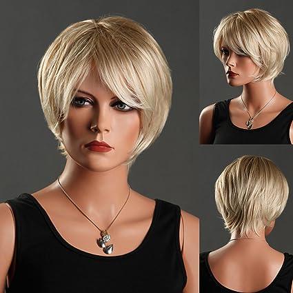 RMAN de moda peluca mujer peluca pelo corto auténticos Cosplay Party hembra Bob liso peluca rubia