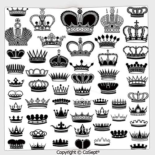(AmaUncle Microfiber Square Towel,Big Silhouette Crown Set Monarchy Imperial Ruler Icons Antique Ancient Vintage,Suitable for Camping,Running,Cycling,Gym(19.68x19.68 inch),Black and White)