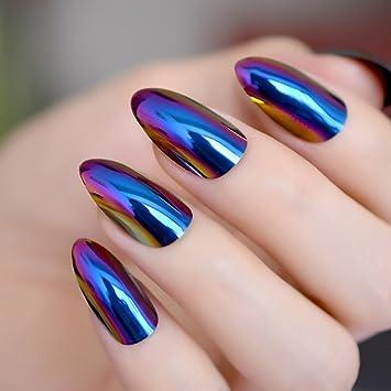 Spiegel Design Kunstliche Nagel Blau Violett Medium Spitz Stiletto