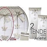 TENDE TENDA CUCINA BAGNO ARREDO FINESTRA SHABBY DEDCORO CUORE COPPIA 60X240CM ART. 682209