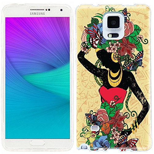 [note 4 Case,note4 case,Samsung note 4 Case,Galaxy note 4 Case,ChiChiC full Protective unique Case slim durable Flexible Soft TPU Cases Cover for Samsung Galaxy Note 4 SM-N910S SM-N910C,Beautiful fashion girl in a Red Dress with abstract floral hair on yellow] (1980s Dress)