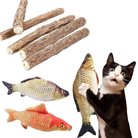 FineInno Hierba Gatera Equipo Cat Catnip Kit Natural Matatabi Silvervine Toy Gato Juguete Interactivo para Limpieza