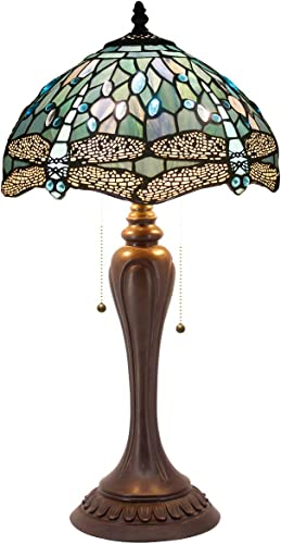 Tiffany Table Lamp W12H22 Inch Sea Blue Stained Glass Crystal Bead Dragonfly Style Lampshade S147 WERFACTORY LAMPS Lover Friends Living Room Bedroom Study Office Desk Antique Lighting Art Crafts Gift