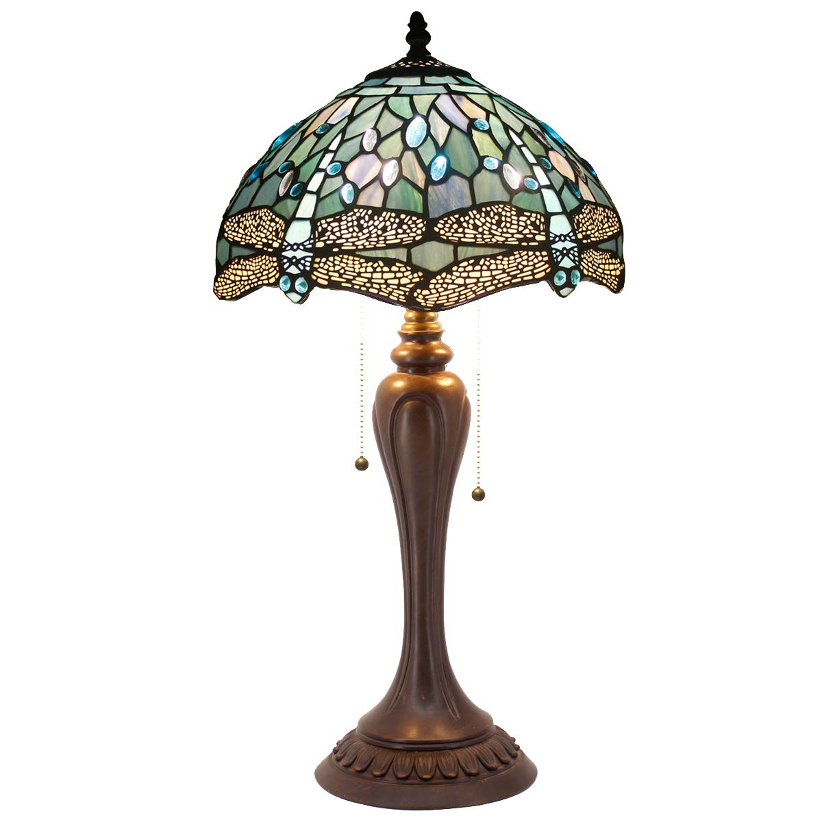 Tiffany Lamp Sea Blue Stained Glass and Crystal Bead Dragonfly Style Table Lamps W12 H22 Inch for Coffee Table Living Room Antique Desk Beside Bedroom S147 WERFACTORY
