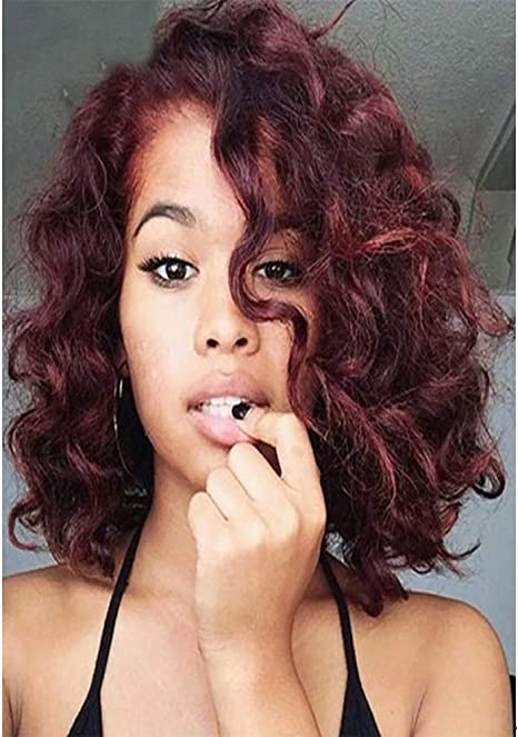 wig Peluca de Pelo Rizado Corto Peluca de Vino Rojo Pequeño ...