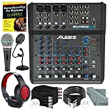 Alesis MultiMix 8 USB FX 8-Channel Mixer with Effects & USB Audio Interface Platinum Bundle w/ Microphone, Closed-Back Headphones, Home Recording for Musicians, Much More