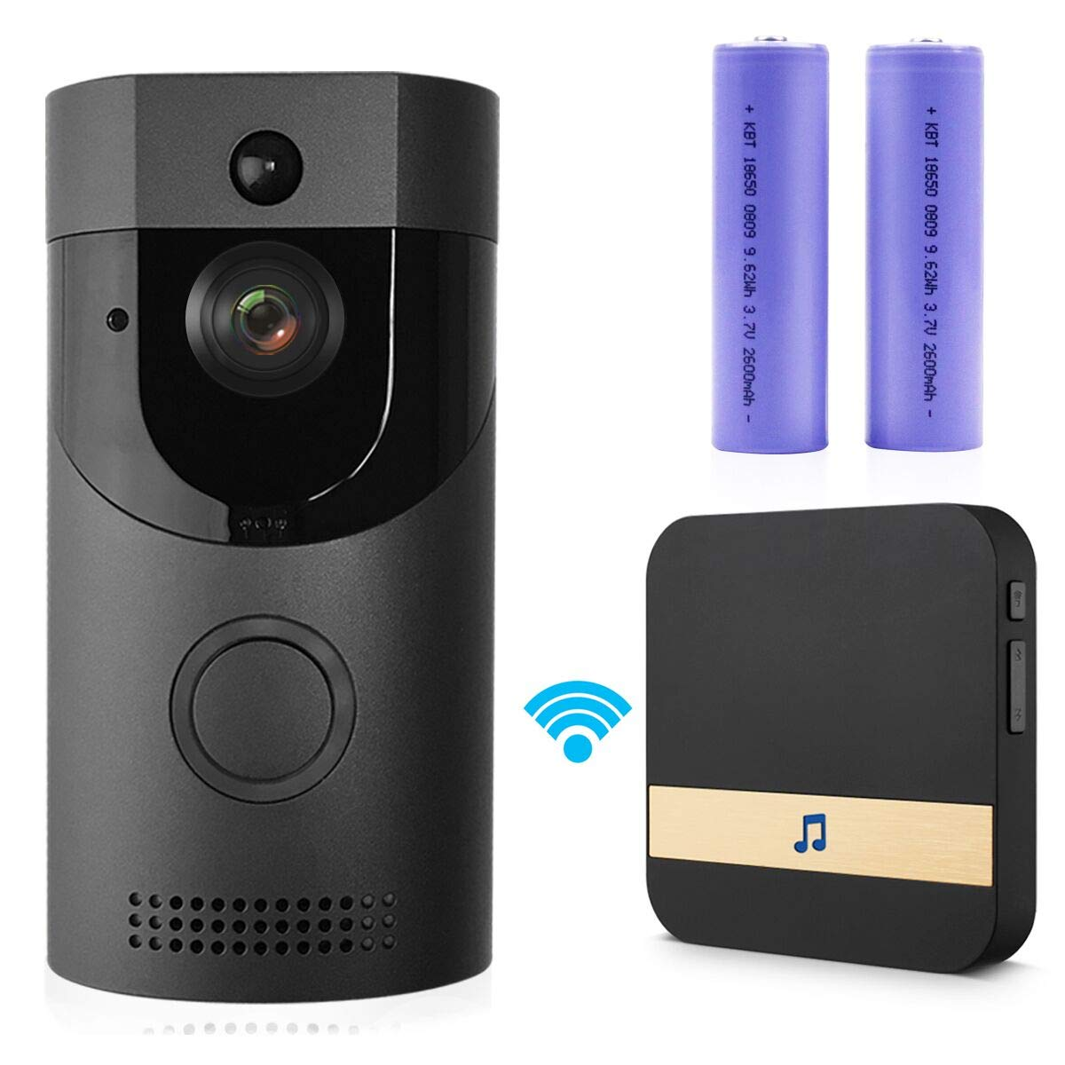 Smart Doorbell, Waterproof WiFi Video Doorbell HD 720P Security Camera with Indoor Chime, Night Vision, PIR Motion Detection Real-Time Two-Way Talk and Video, App Control Support iOS and Android