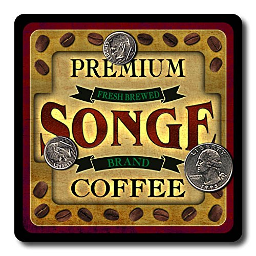 Songe Coffee Neoprene Rubber Drink Coasters - 4 Pack