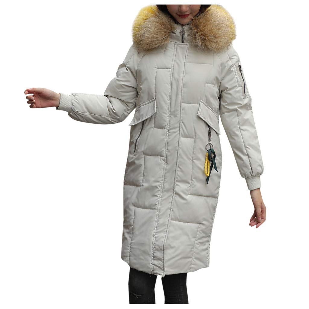 Pandaie Women Down Jacket Long Winter Parka Jacket Hooded Quilted Thicken Warm Puffer Trench Coat Outwear White by Pandaie
