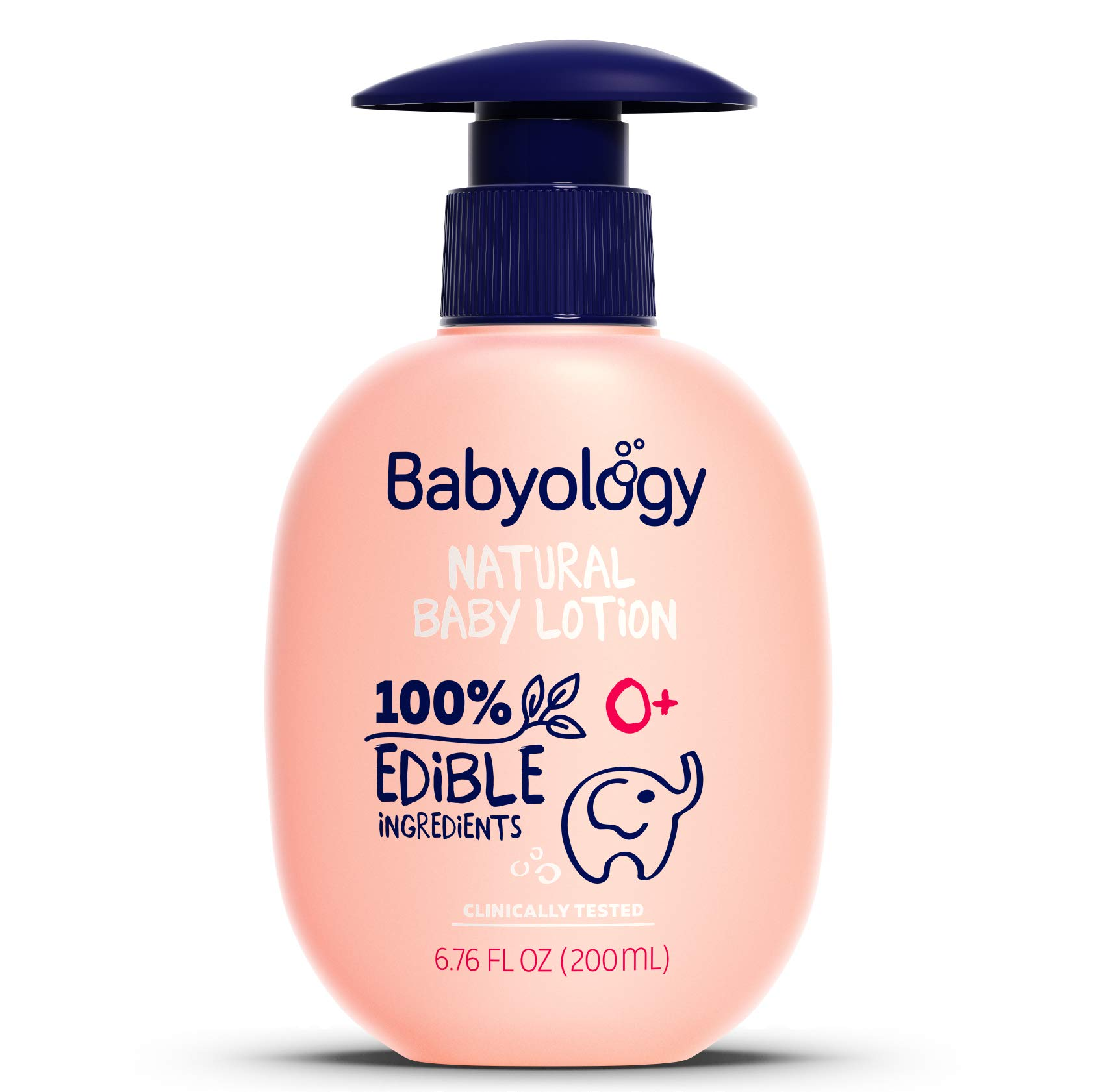 Babyology - 100% Edible Ingredients - Organic Baby Lotion - Clinically Tested - 6,67 FL. OZ - Calming & Rich Moisture for Sensitive Skin - Daily Care - Non-scented - Perfect Baby Shower Gift by Babyology