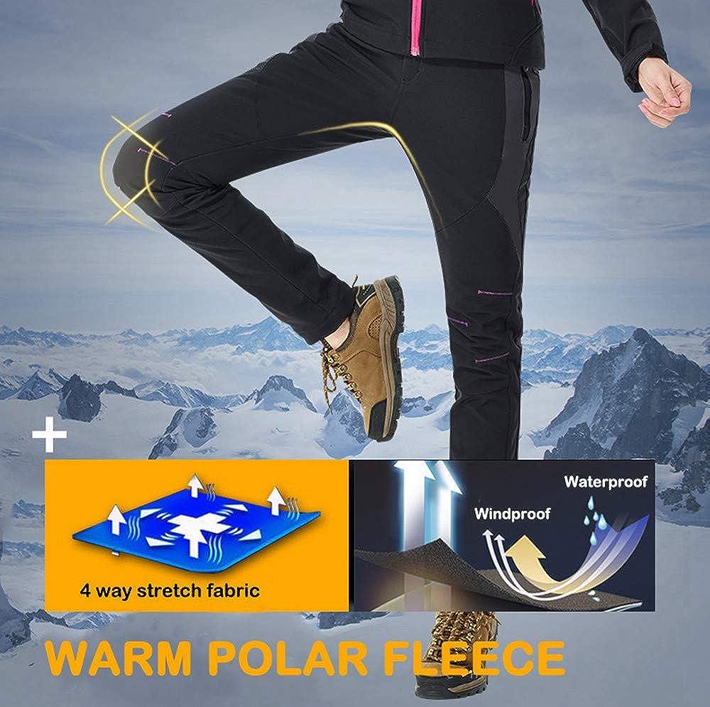 TBMPOY Womens Windproof Waterproof Snow Pants Outdoor Hiking Fleece Pants 01purple,US 6