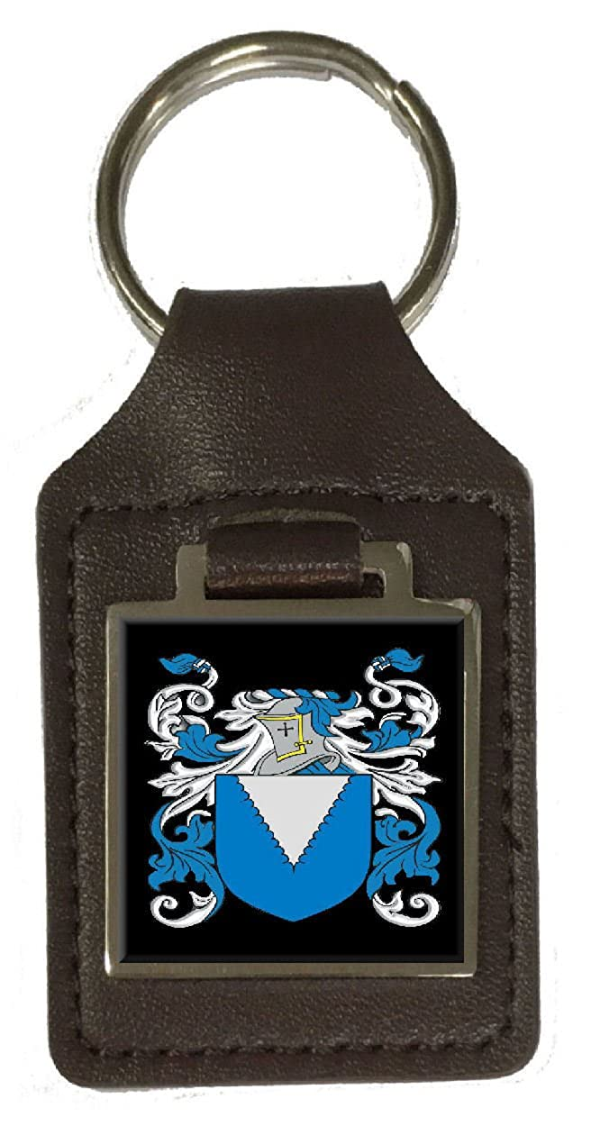 Harmes Family Crest Surname Coat Of Arms Brown Leather Keyring Engraved