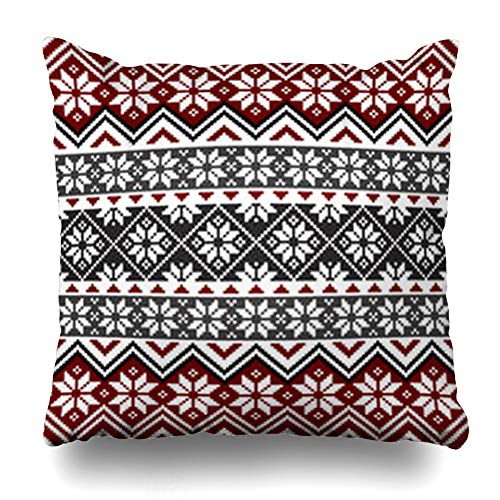 Snowflake Pattern White - HugeDecor Throw Pillow Cover Norwegian Red Christmas Nordic Pattern Snowflakes White Grey Norway Scandinavian Design Decorative Pillow Case 18x18 Inches Square Home Decor Pillowcase
