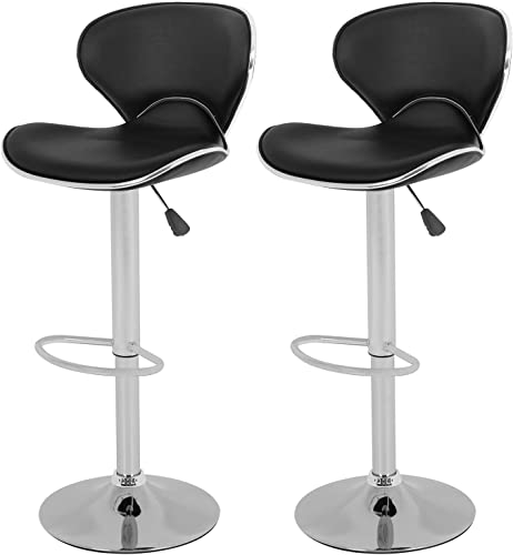 OffiClever Modern Bar Stool Set of 2 Barstools Heigh Adjustable Swivel Bar Stool Counter Height PU Leather Home Kitchen Stools Hydraulic Dining Room Chair Bar Chair