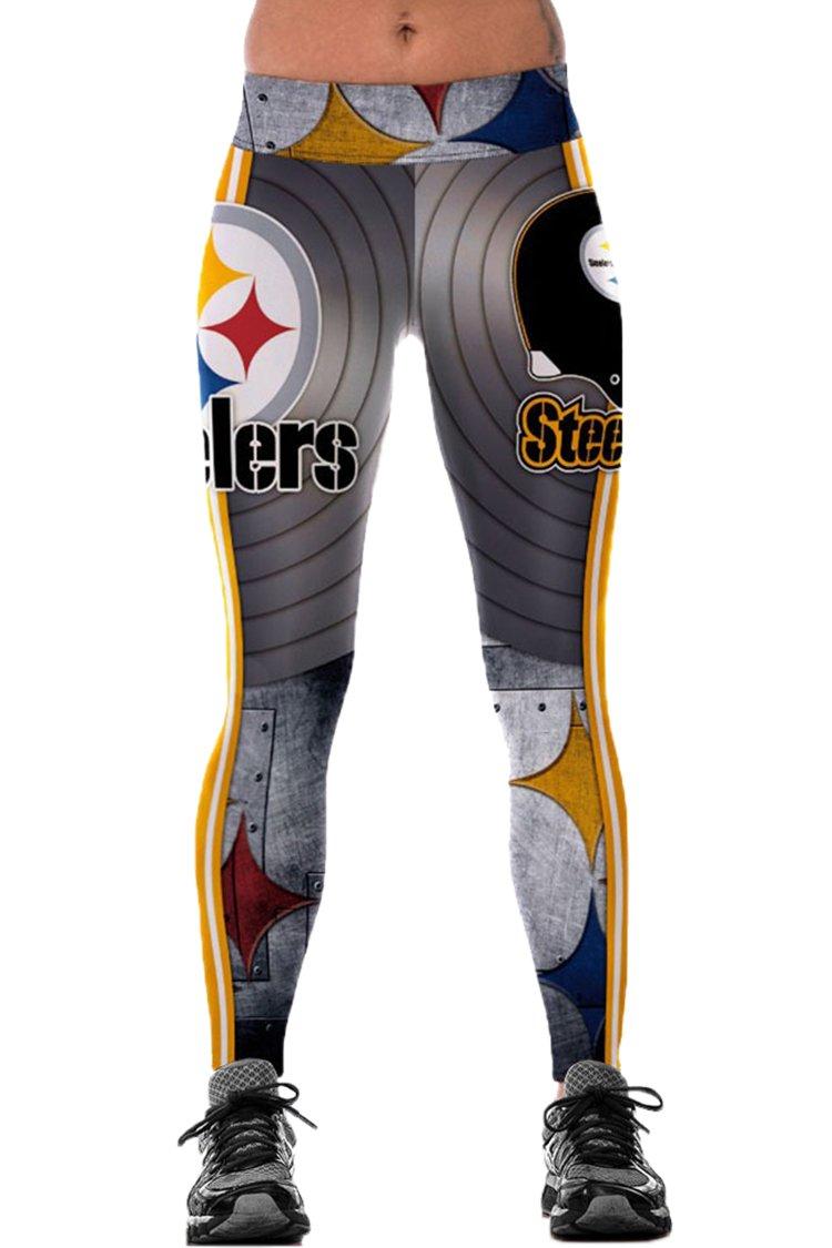 COCOLEGGINGS Ladies Wide Waistband Steelers Print Yoga Pants Leggings Grey L