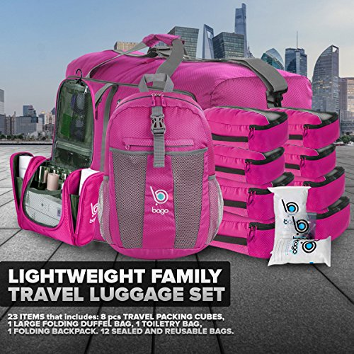 """Bago Travel Luggage Set - 27"""" Duffle - 8 Packing Cubes - Backpack & Toiletry Bag (Pink)"""