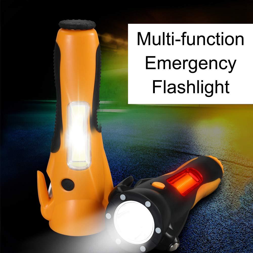 VISLONE Multifunci/ón COB LED Linterna Seguridad Linterna de Emergencia Super Brillante para Acampar Senderismo Mochilero Pesca Negro