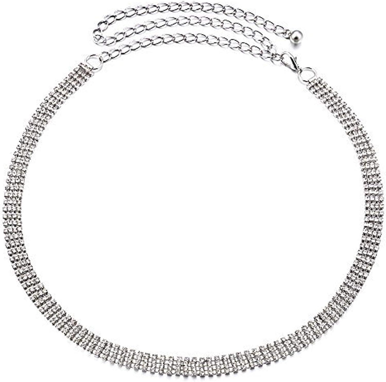 112cm plata 4 ROW Diamantes De Imitación Correa Cintura Para Las Mujeres Damas Chicas PEDRERÍA / CON ELEGANTE BROCHE Anclaje cinturón Complemento Fiesta Y Ropa Formal Decoración Bodas