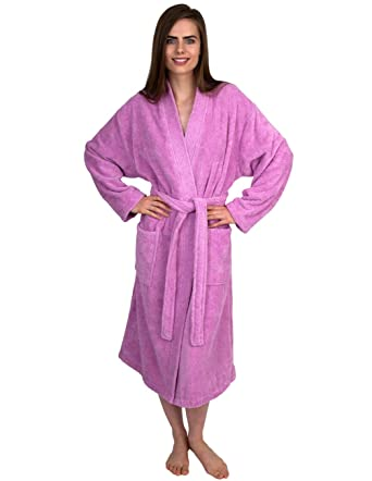 eae1d7ae7f TowelSelections Women s Robe Organic Cotton Terry Kimono Bathrobe Small Medium  Pink Lavender