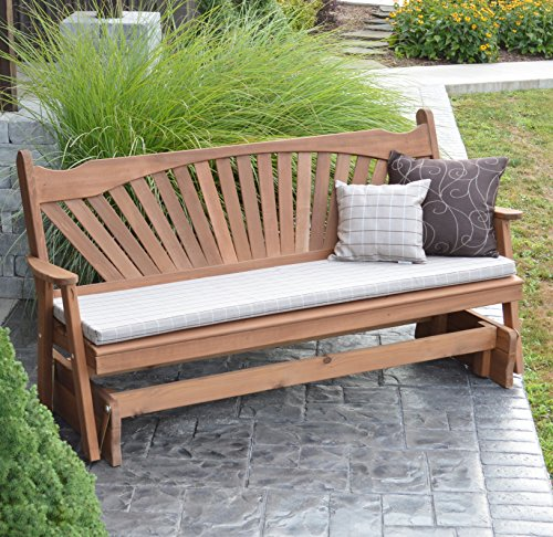 CEDAR PORCH GLIDER BENCH Outdoor Patio Gliding Bench, 2 Person Wooden Loveseat Benches, Amish Made Furniture Weather Resistant Western Red Cedar Wood, 5 Styles (6ft, Fanback Oak Stain) -