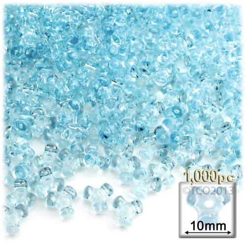The Crafts Outlet 1000-Piece Plastic Transparent Tri Beads, 10mm, Light Blue ()