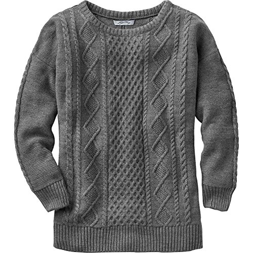 Legendary Whitetails Women's Fireside Sweater Charcoal Heather (Signature Cable Knit)