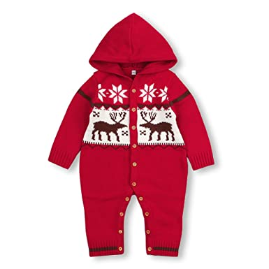 mimixiong baby christmas sweater toddler reindeer hooded jumpsuit red clothes6 12monthsred