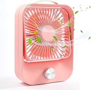 Small USB Fan, TekHome Personal Desktop Fan for Home Office Outdoor, Gifts for Women Teen Girls, Desk Fan Battery Powered, Pink.