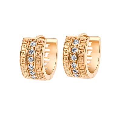 YAZILIND Charming Smooth Gold Plated U Style Inlay Round Clear Cubic Zirconia Stud Earrings for Women I5n59fw7v