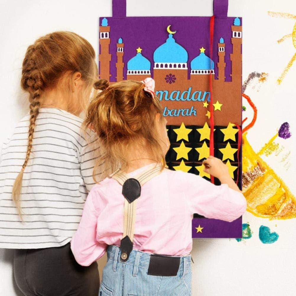 D/écoration Murale Ramadan Vacances D/écorations Eid Mubarak Feutre Calendrier Ramadan Compte /À Rebours Calendrier avec des Poches De Bonbons pour Les Enfants Ramadan Party