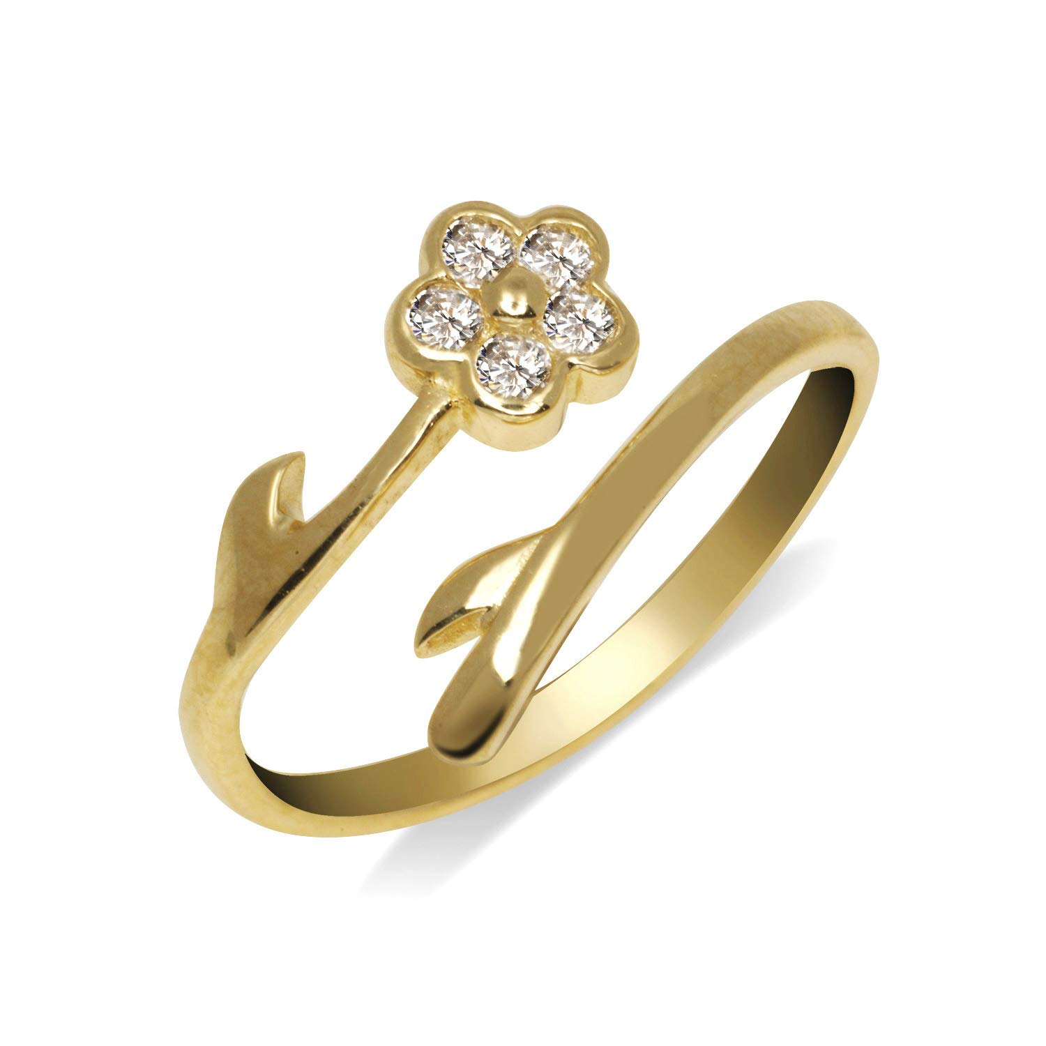 JewelryWeb Solid 10K Yellow or White Gold Elegant Flower Bypass Cubic Zirconia CZ Adjustable Toe Ring (8mmx15mm) (Yellow-Gold) by JewelryWeb