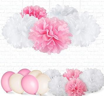 31er Seidenpapier Pompoms Luftballons Weiss Rosa Hochzeit Party Deko