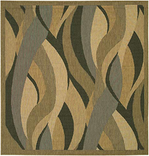 Couristan 1562/0154 Recife Seagrass/Natural-Black 8-Feet 6-Inch Square Rug from Couristan