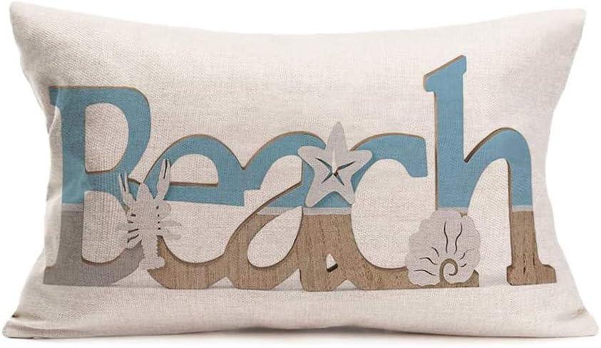 Qinqingo Beach Waist Lumbar Throw Pillow Case Summer Coastal Theme Lobster Starfish Shell Decorative Cushion Cover Cotton Linen Pillowcase for Sofa Home Decor Rectangle 12x20 Inches (VD-7)