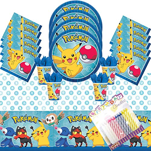 Pokemon Theme Party Plates Napkins Cups and Table Cover Sevres 16 with Birthday Candles - Pokemon Party Supplies Deluxe (Bundle for 16)]()