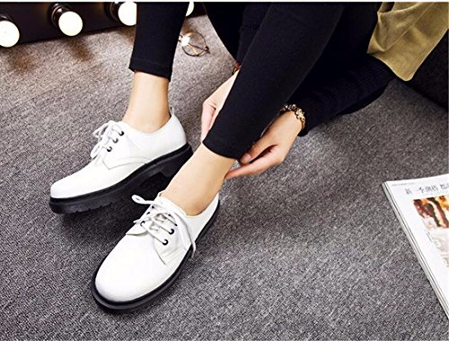 QIYUN.Z Mujeres Del Estilo De La Escuela De Inglaterra Baja Eje Martin Solos Zapatos Con Cordones De La Vendimia Blanco