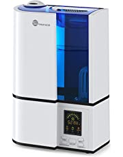 TaoTronics TT-AH001 Humidifiers for Bedroom Home Baby, Cool Mist, Quiet Operation, LED Display, 360° Nozzle, Waterless Auto Shut-Off, White-(4L/1.06 Gallon)