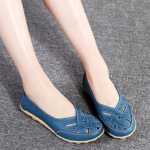 joyee Hollow Driving Womens Leather Flat Blue Out Casual Z Shoes Loafers dHfCExqwCB