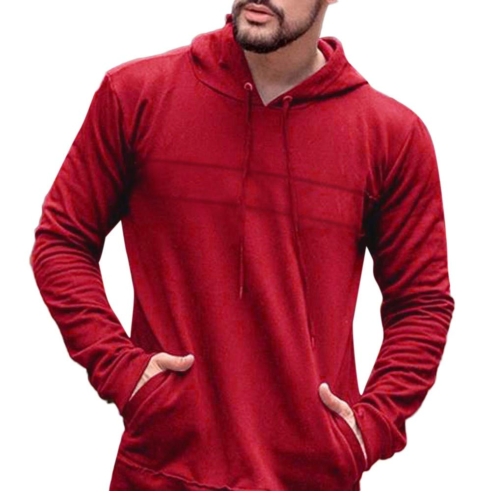 Clearance !Men Casual Hooded Sweatershirt GREFER Autumn Long Sleeve Slim Solid Tops GREFER-0926