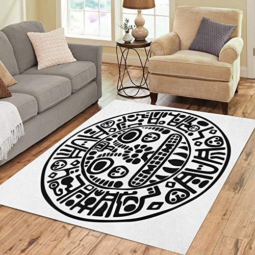 Pinbeam Area Rug Mayan Inca Calendar Aztec Tribal Mexican Ancient Indian Home Decor Floor Rug 5' x 7' Carpet ()