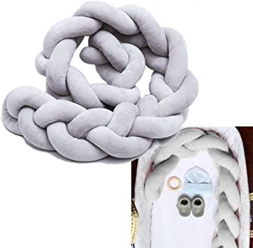 Baby Crib Bumpers Braids Protective Snake Pillow Home Decoration 39 59 79 100cm, White