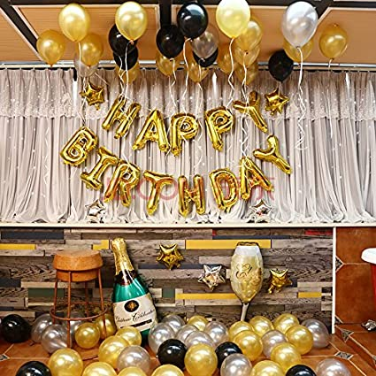 Letter Happy And Foil Birthday Only gold Set Balloon Themez Silver Pw6qn