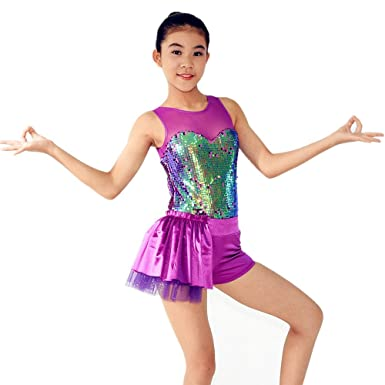 080bf9806ea0 MiDee Women s Girl Sequin Jazz Dance Outfit Ballroom Dance Dress (MA ...