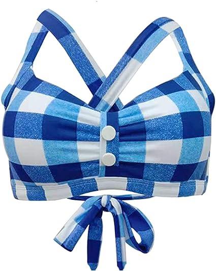Viloree Retro Womens high Waisted Bikini Set Push Up Audrey Hepburn Check