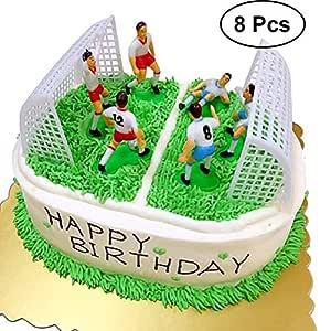 YeahiBaby Decoraciones de Pastel de Fútbol | Equipo de Fútbol Cake Topper, Juego de 8