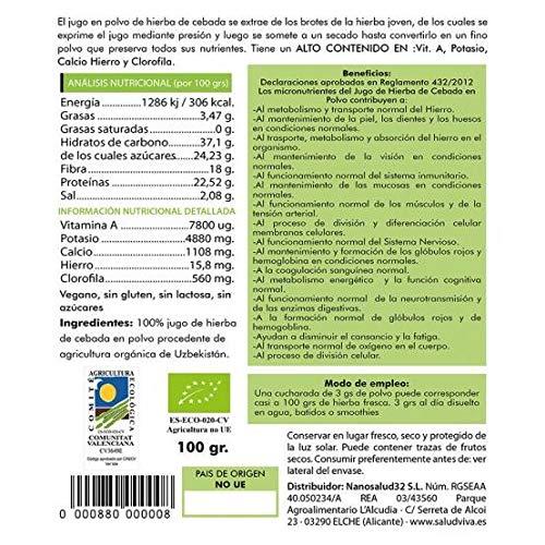 Jugo de Hierba de Cebada en Polvo Eco 100 g, Salud Viva ...