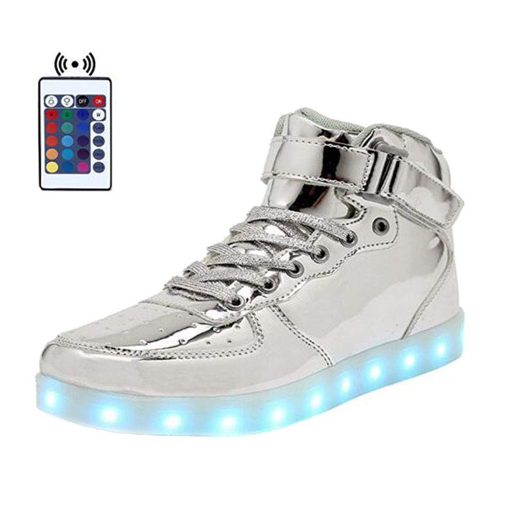 High Top Velcro LED Light Up Shoes 7 Colors USB Flashing Charging Walking Sneakers For Men Women Boots With Remote Control-45(silver)