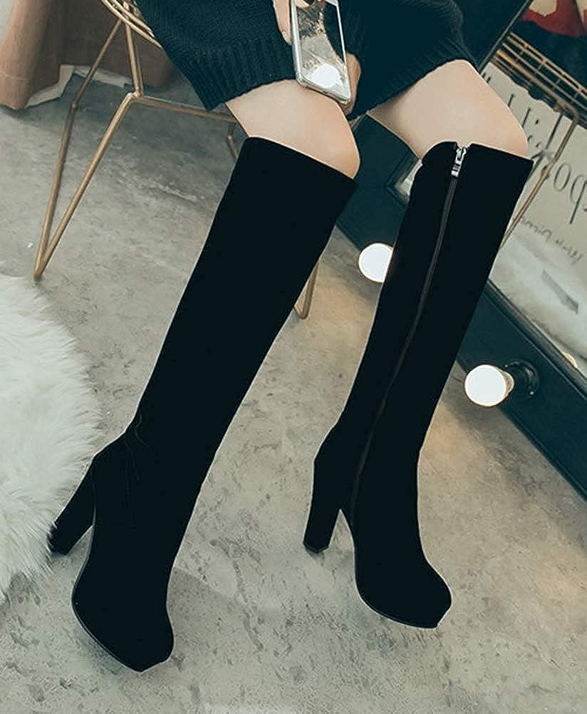 Unm Womens Elegant Round Toe Dress Inside Zip Up Chunky High Heel Platform Knee High Knight Boots